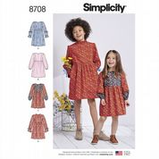 8708 Simplicity Pattern: Child's and Girl's Dress with Sleeve Variations